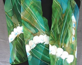 """White Lily of the Valley. Hand painted chiffon scarf. Painted silk scarf.  Turquoise, asparagus, green silk shawl. Artists scarf 18"""" x 71""""."""