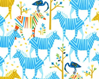 Michael Miller Fabric by the yard Origami Oasis collection by Tamara Kate Show Your Colors in Blue 1 yard
