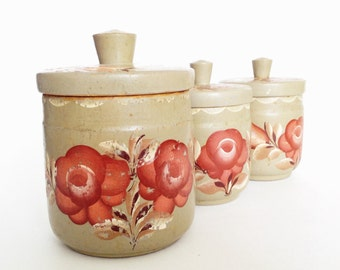 VINTAGE FLORAL CONTAINERS, for kitchen decor, Handpainted
