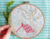 Embroidery wall art, House warming gift, Christmas gift for her - Dream House - Modern hand embroidery, Embroidery hoop art, diy kit