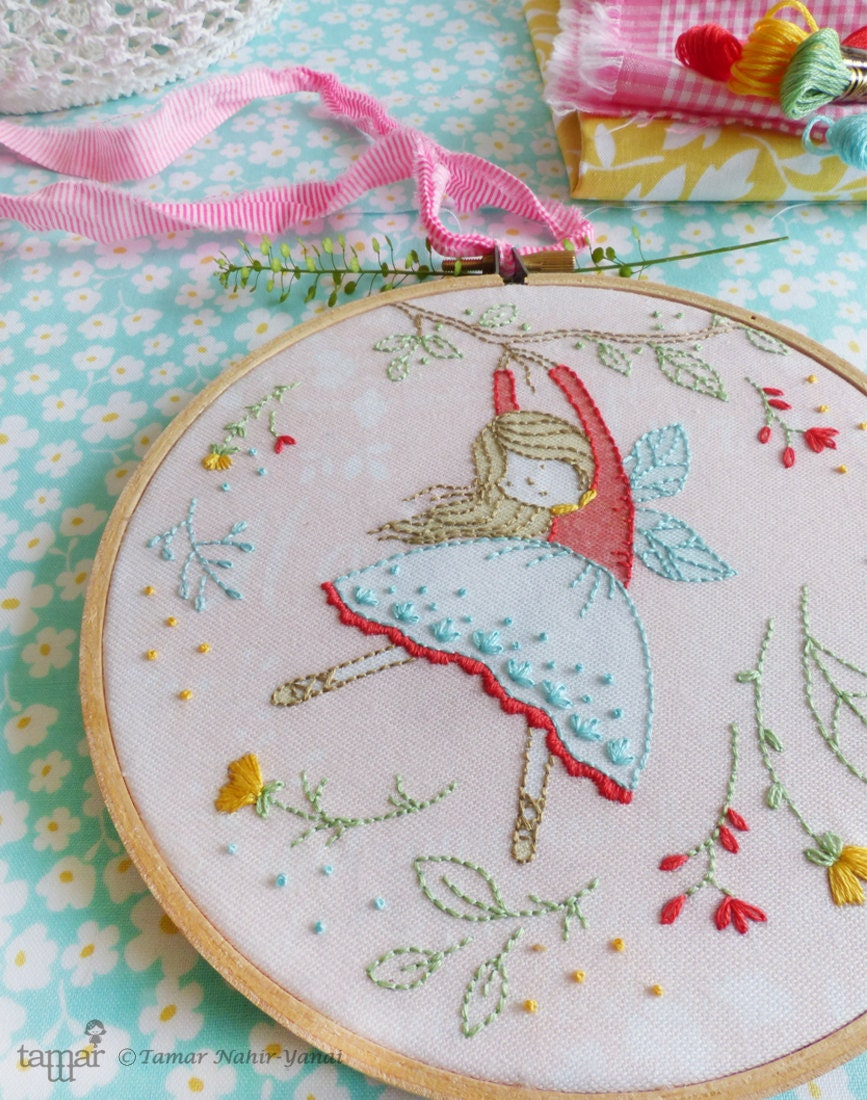 Embroidery kit hand flying fairy nursery