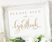 Please Sign our Guestbook Sign | 5 x 7 Sign | DIY Printable | Bella | Antique Gold | PDF and JPG Files | Instant Download