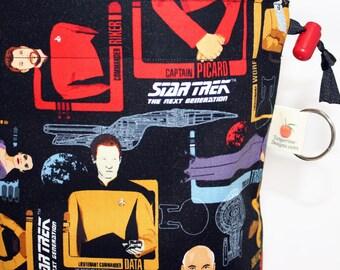 Star Trek TNG Crew Project Bag for Knitting, Spinning, Crochet, Cord Lock, Supply Clip