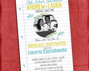 High School Sweethearts Bridal Wedding Shower 4x6 or 5x7 Invitation - I Design You print