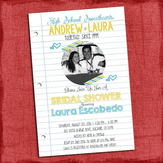 High School Sweetheart Wedding: High School Sweethearts Bridal Wedding Shower 4x6 Or 5x7