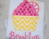 Lemonade Cupcake Applique Shirt - Girl's Summer Applique Design - Custom Monogram or name