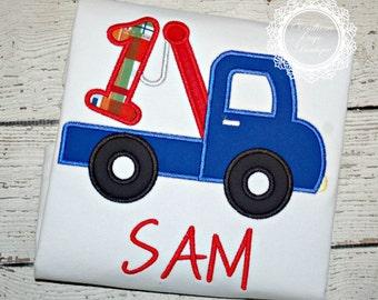 Tow Truck Birthday Shirt -  First Birthday - ONE Birthday Shirt - Boys Applique Designs