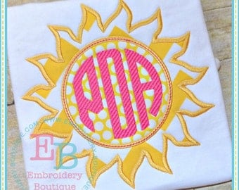 Monogrammed Sun Beach Shirt - Summer Applique Design - Girl's or Boy's shirt - Monogram included - Beach Shirt