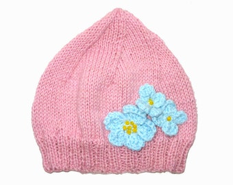 SALE - Girls Retro HANDMADE Pink Knitted Wool Beanie Hat with Blue Flowers . A Great Gift Idea . Size - Age: 3 4 5 6 7 . Made in Australia