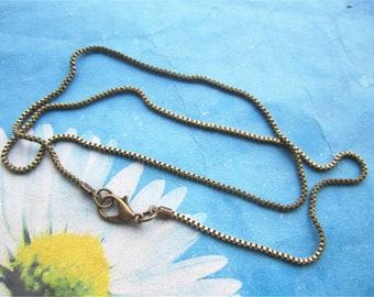 12pc 16 inch antiqued bronze 1.5mm square snake chain necklace with lobster clasps