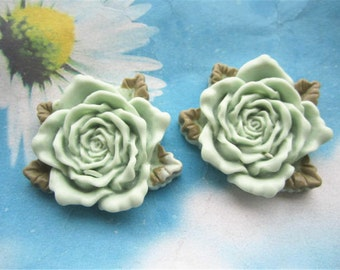 Large--2pc 45mm mint green resin  flower cabochon/cameo charms--rose flower with green leaves