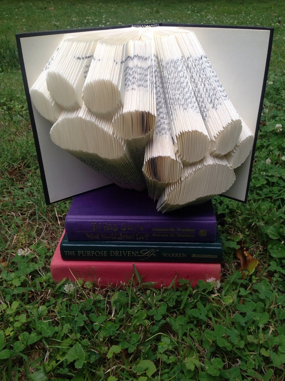 Paw print folded book art - gift for dog lover