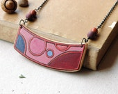 Colorful wood necklace with natural stone beads,wooden pendant,geometric circular necklace