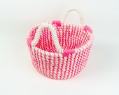SALE! 50% OFF! Rope Basket Cotton Rope Bag Rope Bag Cream Pink Nautical Rope Basket Pink Basket Cream Woven Rope Bag Nautical Rope Basket