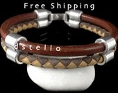 FREE SHIPPING - Men's bracelet, Leather bangle, Cuff bracelet, Braided leather, Double wrap, Gift idea, Father, Boyfriend, Husband present