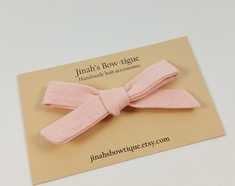 Linen Hand tied Hair Bow or Nylon Headband Petite Fabric Hair Bow -Blush- Schoolgirl Bow