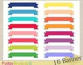 ON SALE Banner ribbon clip art, 16 scrapbooking label.S-01 ,label clip art, bright color label, Instant Download