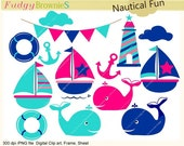 ON SALE Sail boat clip art , Nautical fun , for invites,scrapbooking ,sail boat,sailing clip art, whale clip art , INSTANT Download
