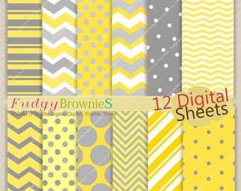 """ON SALE SALE,Digital Scrapbook Paper Pack, Digital paper pack 12""""x12"""",Yellow gray digital background , No.92/2 printable background Instant"""