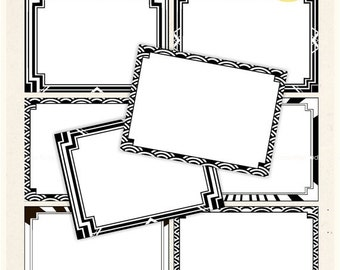 ON SALE Digital frame, Gatsby style Square Frames clipart, black and white digital scrapbooking frames.A-102 , Instant download