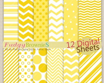 ON SALE Digital paper pack12x12,yellow and white Digital background,No.127/2 printable background yellow , soft yellow white , instant downl