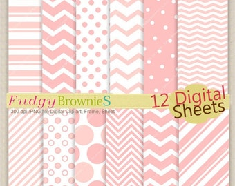 "ON SALE, Pink Digital paper scrapbooking 12""x12"", Digital background , No.130/2 printable background ,soft pink clip art , Instant downl"