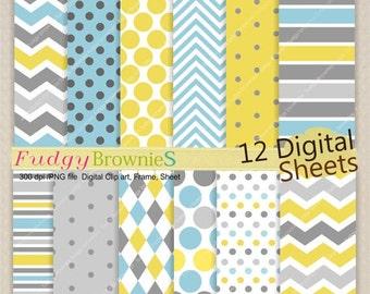 ON SALE Digital paper pack 7.5x11, Kids party Colour digital background , No.203 printable background,blue ,grey, instant download
