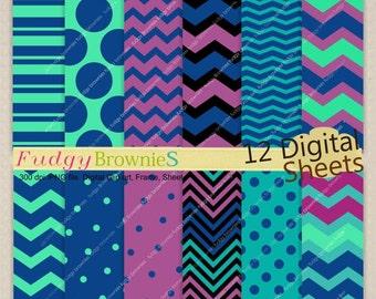 "ON SALE Digital paper background 8.5x12"" , printable digital paper ,No.251, peacock color, purple, aqua blue"