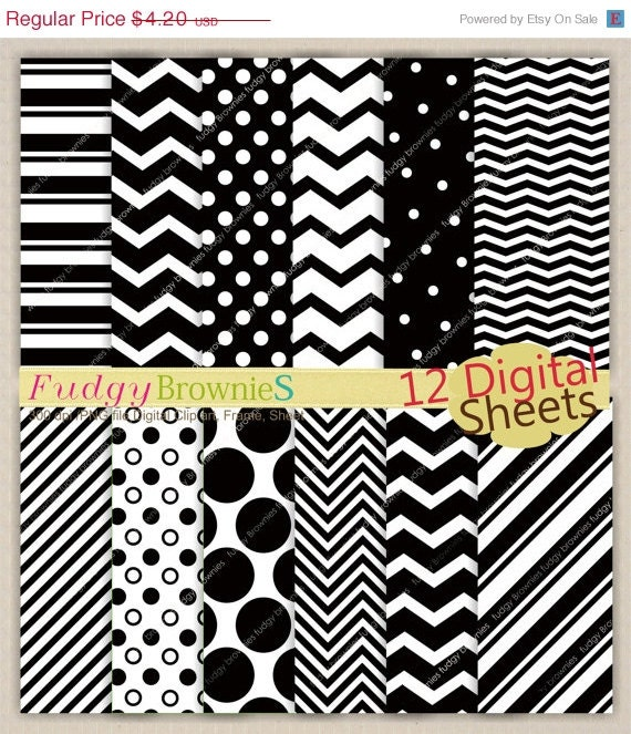 ON SALE Digital paper pack 7.5x11,Black and white Digital background , No.90 printable background black,  Instant download white