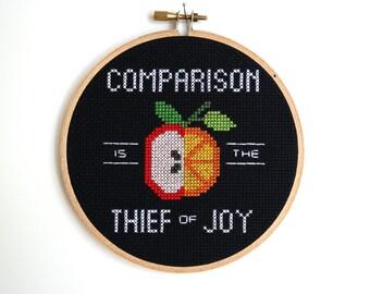 PATTERN | Comparison Is the Thief of Joy | Modern cross stitch