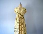 Vintage rayon novelty print dress . 1950s dress