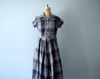 40s 50s dress . plaid vintage dress . 1950s dress
