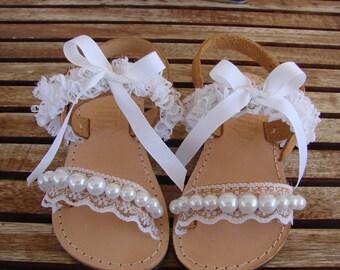 Genuine Greek Handmade Leather Childrens Sandals Bridesmaid Wedding Bridal