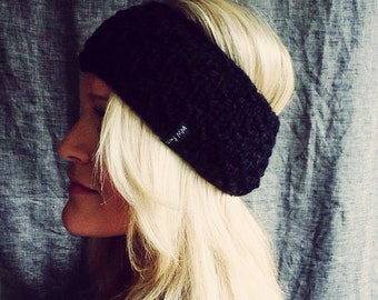 Chunky knit headband in black wool blend / Birthday Gift / Wear All Year / Bad Hair Day / Accessories For Women