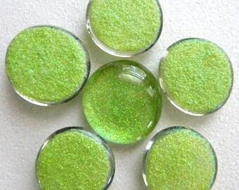 6 LARGE Flat Glass LIME Green GLITTER Gems - Half Marbles - Mosaics/Wedding/Floral Display