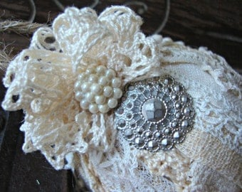 Vintage Lace Tattered Ball Ornament