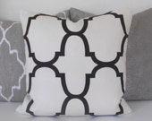 Designer pillow cover, Windsor Smith for Kravet, jet black Riad quatrefoil pillow