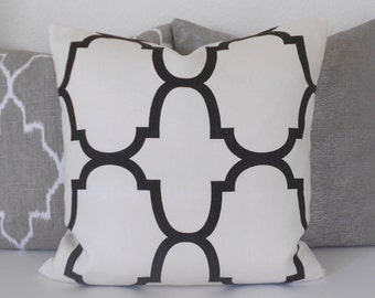 SALE Designer pillow cover, Windsor Smith for Kravet, jet black Riad quatrefoil pillow