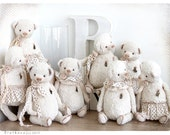 Shabby chic style Two Bears A and B of White Wedding Snow collection 8,5 inch
