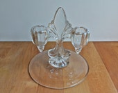 Pressed Glass Double Candle Holder.