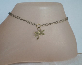 Dragonfly Anklet, Bronze Dragonfly Anklet, Garden, Flowers, Ankle Jewelry, Summer Jewelry, Rustic Dragonfly,