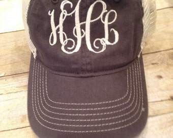 Monogrammed Trucker Hat - Ladies Hat - Monogrammed Hat - Ladies Gift - Bridesmaid Gift - Mesh Back
