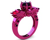 Art Masters Classic Winged Skull 14K Fuchsia Pink Gold 1.0 Ct Black Diamond Solitaire Engagement Ring R613-14KPGBD