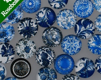 Mixed Blue and White Porcelain Pattern Flat Back Handmade Photo Glass Cabochon - Image Glass Cabochons