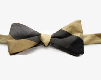 Silk Taffeta Bow Tie Gold Brown Black Plaid Adjustable