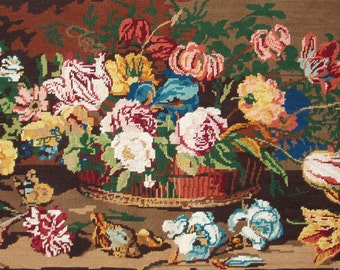 Vintage French needlepoint tapestry canvas embroidery - Old flower bunch