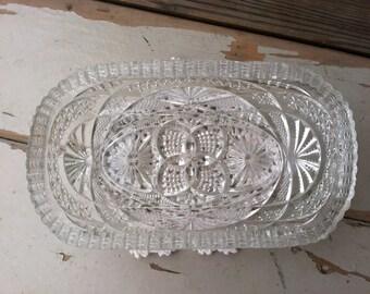 Victorian Antique Oval Nappy Clear Glass Dish - Vintage Serving Bowl + Home Decor, Brilliant Cut Glass Serving Dish, Vintage Dresser Dishes