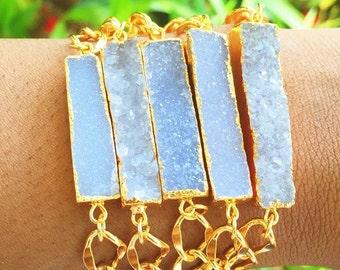 Gold Dipped Druzy Bar Bracelet