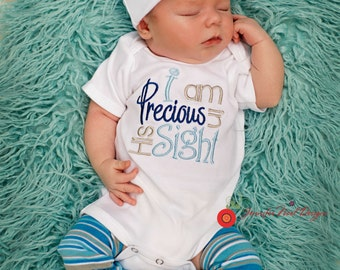 Boys Coming Home Outfit, Personalized Hospital Hat Beanie, Take  Home Hospital,  Newborn gown, Hat and legwarmer Set, Precious in his sight