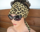 Womens Headband Fabric Headband Accessories Women Headscarf Yoga Headband Headwrap Bandana in Beige with Cheetah print